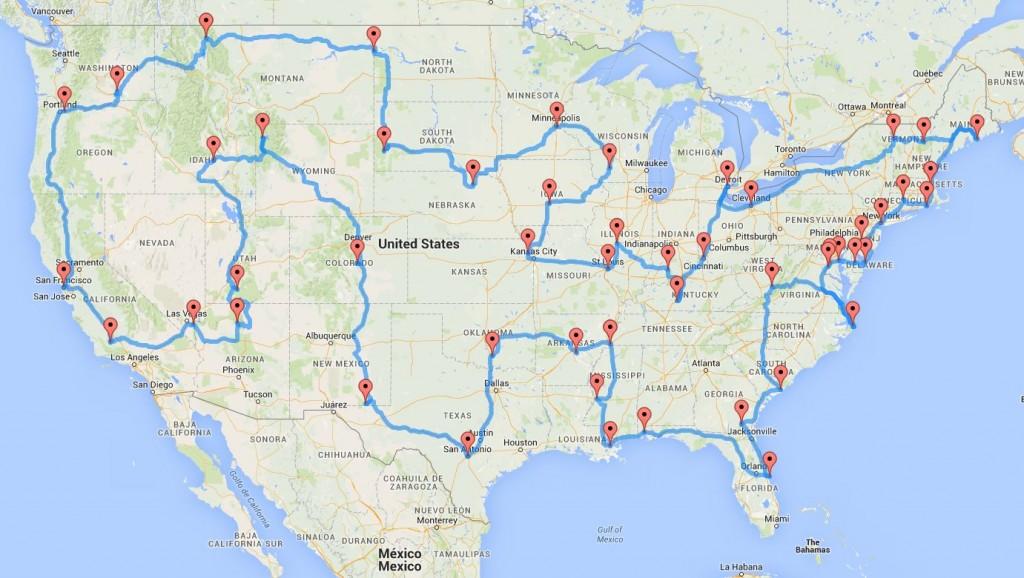 Mapa de la ruta por Estados unidos