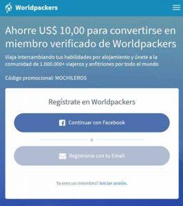 registros en worldpackers - codigo de promoción voucher de descuento - MOCHILEROS