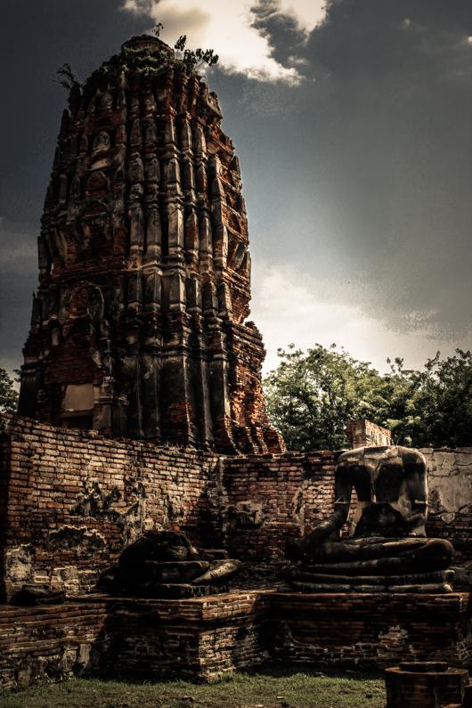 Cabeza decapitada en el templo de Ayutthaya
